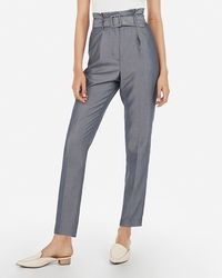 Express Super High Waisted Chambray Belted Ankle Pant Blue