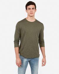 Express Crew Neck Slub Long Sleeve T-shirt - Green