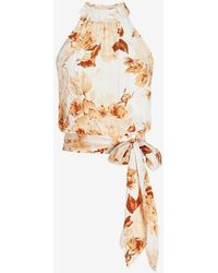 Express Floral Mock Neck Crop Tie Waist Top Yellow Print