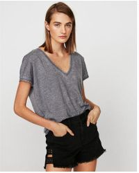 e227de317324b0 Express One Eleven Ribbed Off The Shoulder Tee in Gray - Lyst