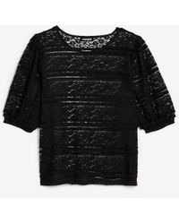 Express Sheer Lace Puff Sleeve Tee Pitch Black
