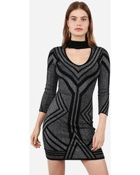 Express Metallic Geometric Choker Cut-out Sweater Dress Black
