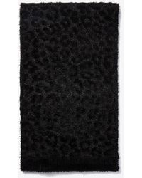 Express Fuzzy Faux Fur Leopard Oblong Scarf Black