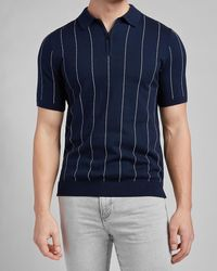 Express Striped Short Sleeve Polo Sweater - Blue
