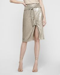 Express High Waisted Sequin Tie Front Wrap Skirt Silver Xs - Natural