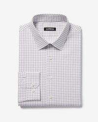 Express - Extra Slim Check Print Cotton Point Collar Dress Shirt - Lyst