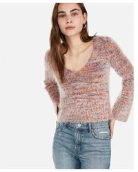 Express - Rainbow Textured V-neck Flare Sleeve Sweater - Lyst