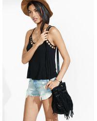 Express Suede Fringed And Studded Drawstring Bucket Bag - Black