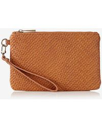 Express Embossed Chevron Weave Wristlet - Brown