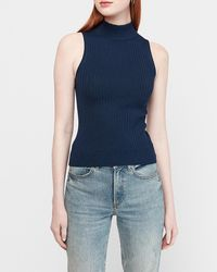 Express Ribbed Sleeveless Mock Neck Jumper Blue Xs