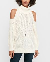 Express Cable Knit Cold Shoulder Jumper Neutral - White
