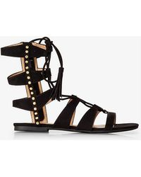 Express Lace Front Studded Midi Gladiator Sandal - Brown