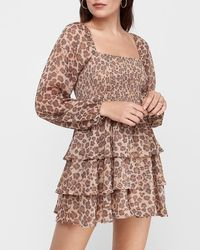 Express Leopard Print Smocked Ruffle Romper - Multicolour