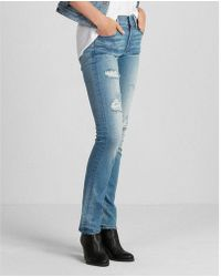 Express - Mid Rise Distressed Stretch+ Performance Skinny Jeans, Women's Size:2 Short - Lyst