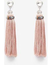 Express Chevron Stone Tassel Drop Earrings - Pink