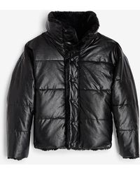 Express Reversible Faux Leather & Faux Fur Puffer Coat Pitch Black