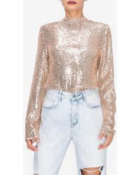 Express Endless Rose Rose Gold Sequin Long Sleeve Top Pink