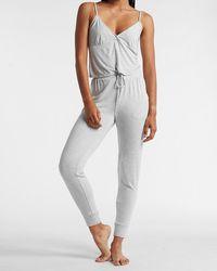 Express High Waisted Drawstring Jogger Pyjama Trousers Grey