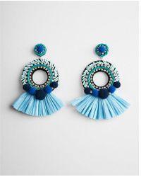 Express - Pom Fringe Drop Earrings - Lyst