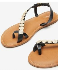 Express Toe Loop Coin Sandals Pitch Black
