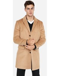 Express Big & Tall Camel Recycled Wool Topcoat Brown