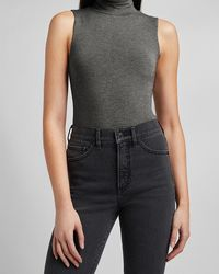 Express Heathered Fitted Mock Neck Thong Bodysuit Gray Xs