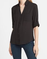 Express Slim Fit Portofino Shirt Pitch Black