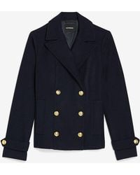 Express Double Breasted Wool-blend Utility Peacoat Navy Blue