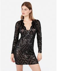 Express Scalloped Sequin Long Sleeve Bodycon Dress Black