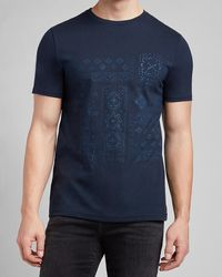 Express Navy Bandana Print Graphic T-shirt Blue S