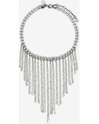 Express Rhinestone Fringe Bib Necklace Hematite - Multicolour