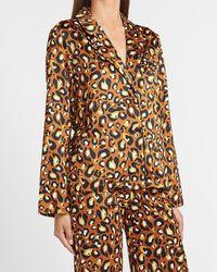 Express Ladygang Leopard Satin Pyjama Top Leopard - Multicolour