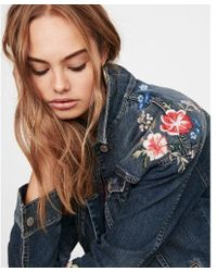 Express - Floral Embroidered Denim Boyfriend Jacket - Lyst