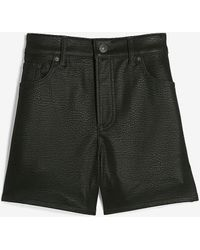 Express High Waisted Textured Faux Leather Shorts Pitch Black