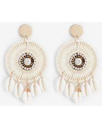 Express Woven Circle Puka Shell Earrings White - Metallic
