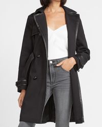 Express Faux Leather Trimmed Belted Trench Coat Black Xxs