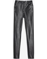 Express Super High Waisted Croc Embossed Faux Leather Cropped Straight Pant Pitch Black