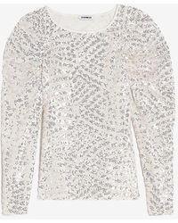 Express Sequin Ruched Shoulder Top White Xs