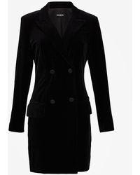 Express Velvet Double Breasted Blazer Dress Black Xs