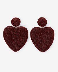 Express - Metallic Fabric Heart Drop Earrings - Lyst