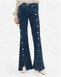 Express - High Waisted Dark Wash Denim Perfect Button-up Bell Flare Jeans - Lyst
