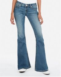 Express - Low Rise Thick Stitch Stretch Bell Flare Jeans, Women's Size:00 Short - Lyst