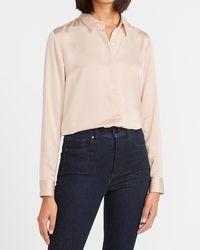 Express Textured Satin Long Sleeve Portofino Shirt Neutral Xl - Multicolor