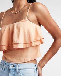 Express Textured Crop Tiered Top Pink Xs