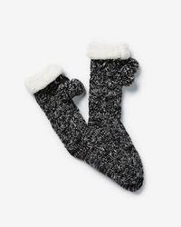 Express - Cable Knit Pom Slipper Socks - Lyst