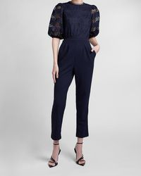 Express Lace Bodice Puff Sleeve Jumpsuit Blue Xxs