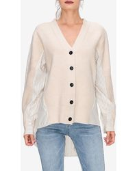 Express English Factory Mixed-fabric Button Front Cardigan Neutral - Natural