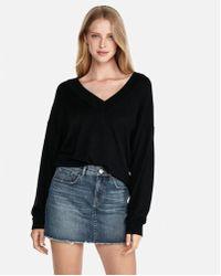 Express - Oversized Deep V-neck Tunic Sweater - Lyst
