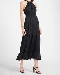 Express Tiered Smocked Waist Halter Neck Maxi Dress Black Xxs