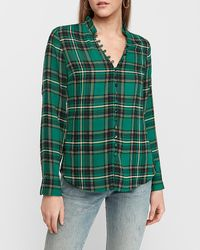 Express Slim Plaid Ruffle Collar Portofino Shirt Green Print Xxs